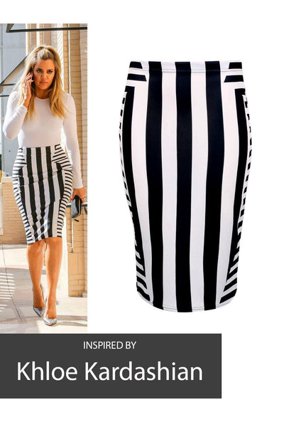 Khloe Kardashian Inspired Striped Monochrome Pencil Midi Skirt - Frave Classics - 3