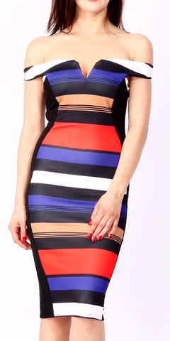 Striped Bardot V-Cut Bodycon Midi Dress - Frave Classics