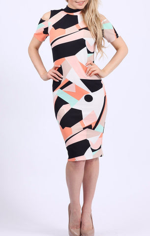 Orange Abstract Print Stretch Midi Dress - Frave Classics - 1