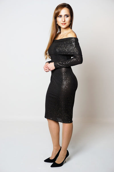 Bardot Long Sleeved Midi Dress in Black at Frave Classics