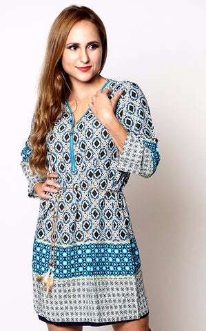 Turquoise Ethnic Print Belted Tunic Dress - Frave Classics