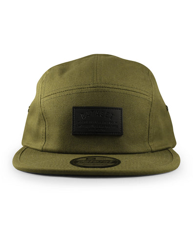 5 Panel Leather Label | Olive