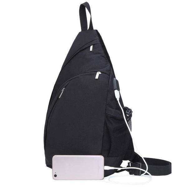 TECHQ Crossbody Sling Backpack for Tablets and Laptops Macbooks iPads up to 13.3-Inches in Size with Built-In External USB Charging Port