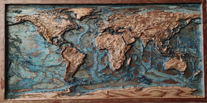 Colored 3D Wood Map Of The World with ocean floor