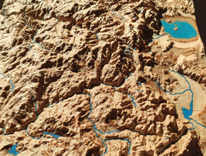 Sierra Nevada, California, 3D Wood Map, colored
