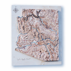 Arizona State 3D Wooden Map, colored