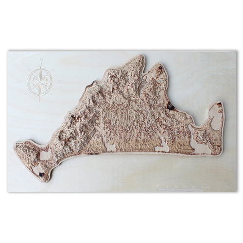 Custom 3D Wooden Map, natural colors