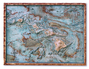 Hawaii, 3D wooden map with frame, colored