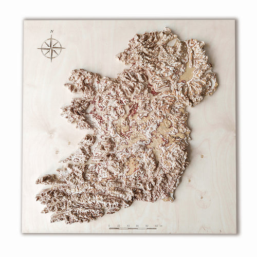 Ireland wood map, wooden map of Ireland in 3D