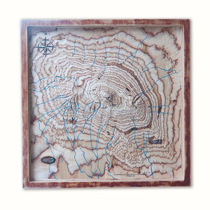Mt Kilimanjaro 3D Wooden Map, Tanzania