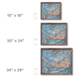 Nantucket Island, 3D wooden map with frame, colored
