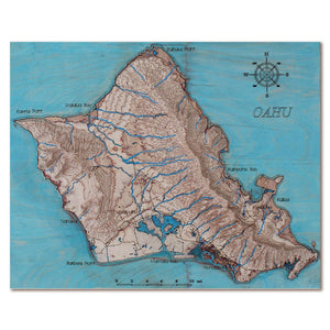 Oahu Island, Hawaii, 3D Map, colored