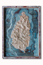 3D wood map of Saint Lucia in the Caribbean Sea. True elevation data. Sea is hand painted in blue.