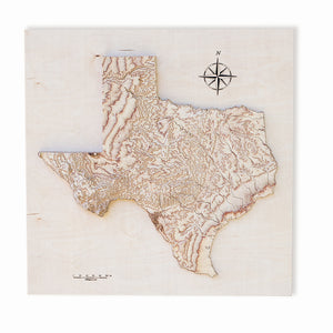 Texas wooden map