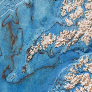 detail of the 3D wood map of Northern Norway