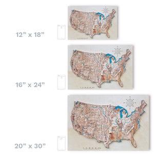 USA 3D Wood Map, colored
