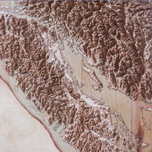 The detail of Canada Vancouver Island 3D Wooden Map
