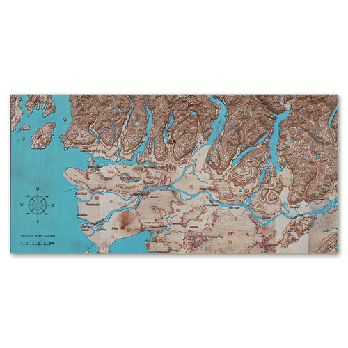 Vancouver Area, Canada, 3D Wooden Map, colored