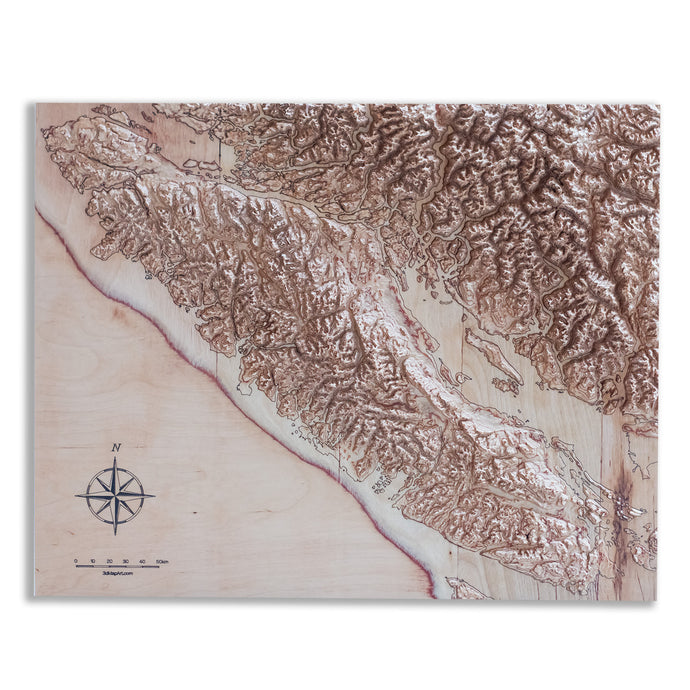 Canada Vancouver Island 3D Wooden Map