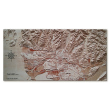 Vancouver Area, Canada, 3D Wooden Map in natural colors