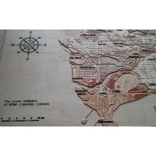 3D wooden maps of vancuver