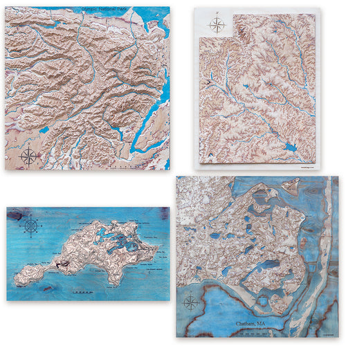 Custom 3D Wooden Map, colored