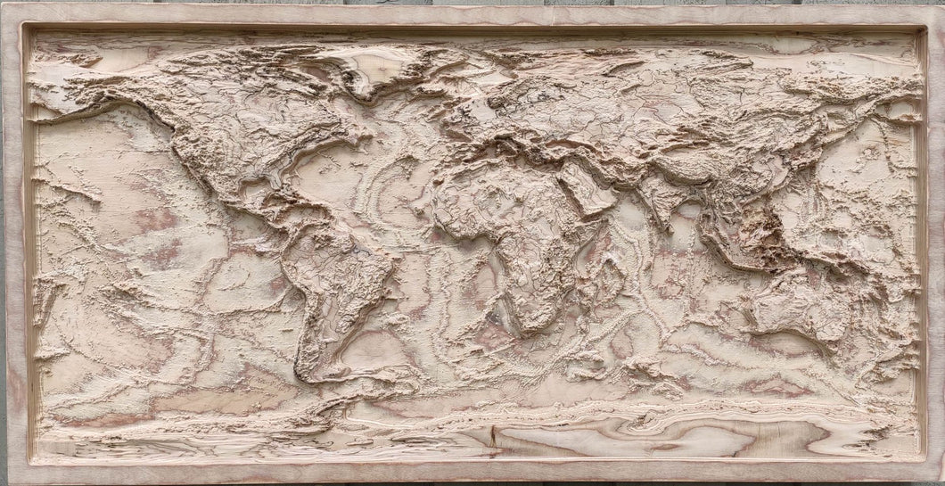 3D Wood Map Of The World, natural colors
