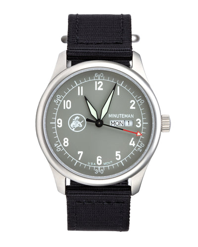 Sold Out! Minuteman  A11 Field Watch Powered by Ameriquartz Battleship Grey Dial - The CGA Company