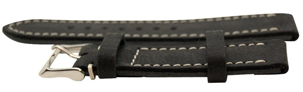 Italian Made Black 22mm Nubuck Leather Watch Strap - The CGA Company