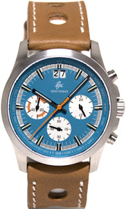 Minuteman Parker Chronograph Wristwatch Blue Dial Brushed - The CGA Company