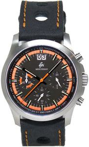 Minuteman Parker Chronograph Wristwatch Black/Orange Dial Brushed - The CGA Company