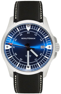 Minuteman RWB brushed finish leather strap USA assembled wristwatch - The CGA Company