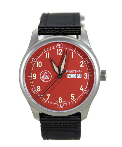 Pre-Order Minuteman A11 Field Watch Devil Dog Red Dial Powered by Ameriquartz - The CGA Company