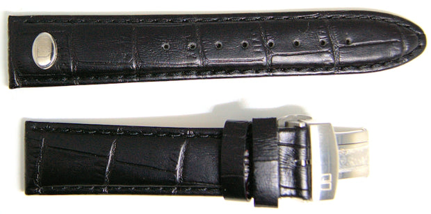 NOS 20mm black leather watch strap with stainless deployant