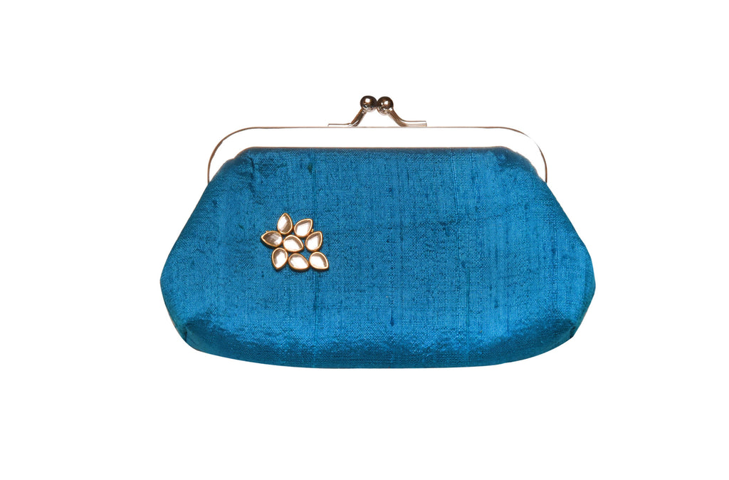 Cerulean Blue Khadi Raw Silk Classic Clutch Small