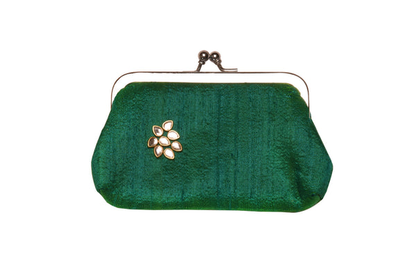 Emerald Green Khadi Raw Silk Classic Clutch Small