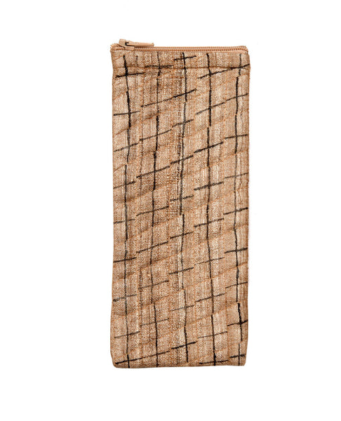 Beige Raw Silk Eyeglass Case