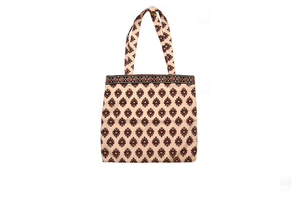 Beige and Maroon Tote Bag