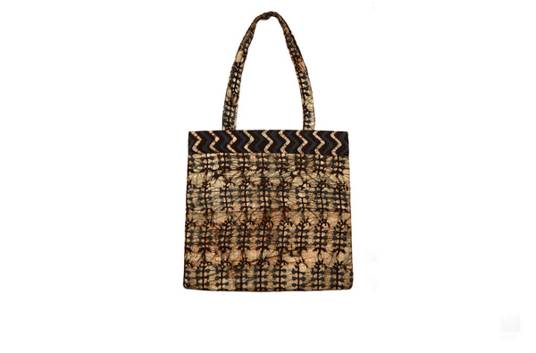 Green and Brown Quilted Tote Bag