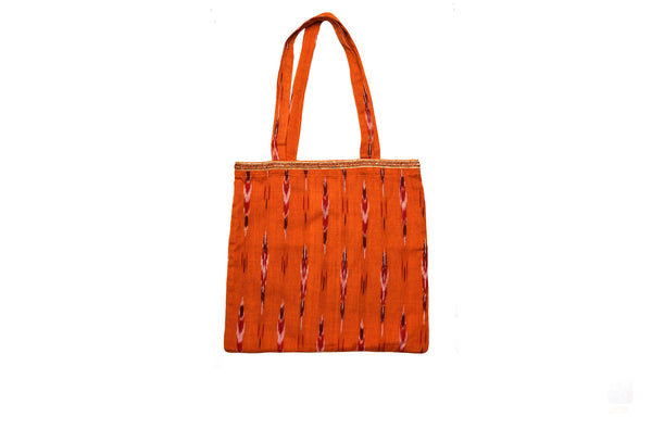 Orange Ikat Tote Bag