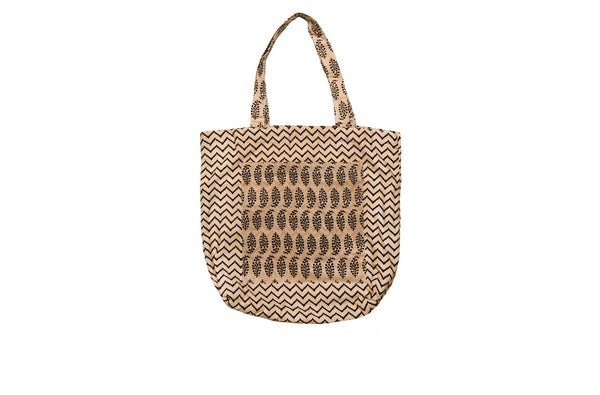 Beige and Black Tote Bag