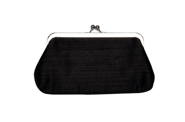 Black Khadi Raw Silk Classic Clutch
