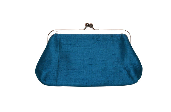 Cerulean Blue Khadi Raw Silk Classic Clutch