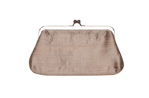 Grey Khadi Raw Silk Classic Clutch