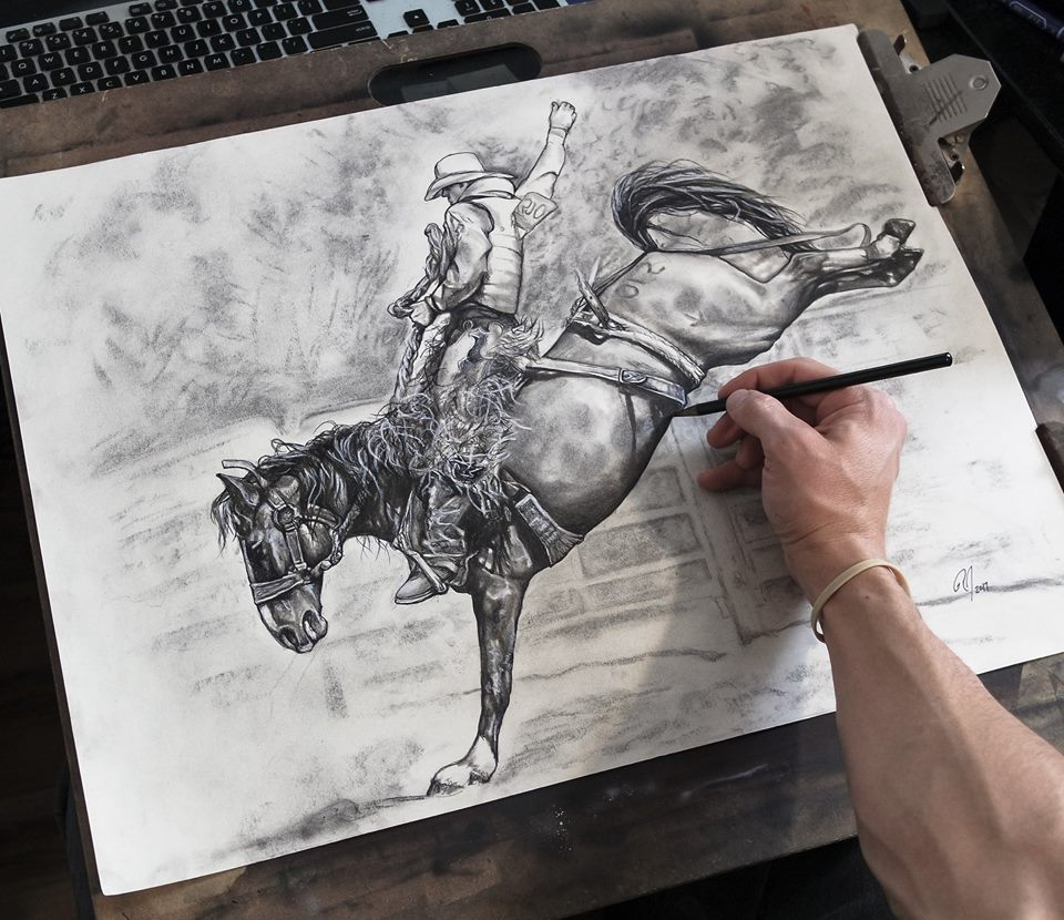 Portfolio 51 Bronc Riding Charcoal Drawing