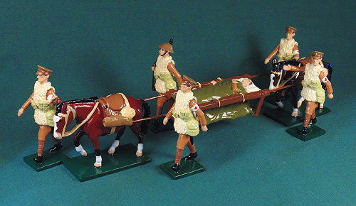 BG375 - British Army Medical Corps, Mule Ambulance, Western Front Winter by Beau Geste WWI - Piers Christian Toy Soldiers - 1