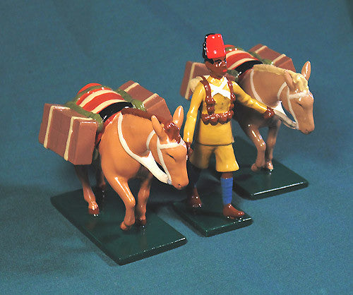 BG428A - British, King's African Rifles Pack Mules from Beau Geste - Piers Christian Toy Soldiers - 1