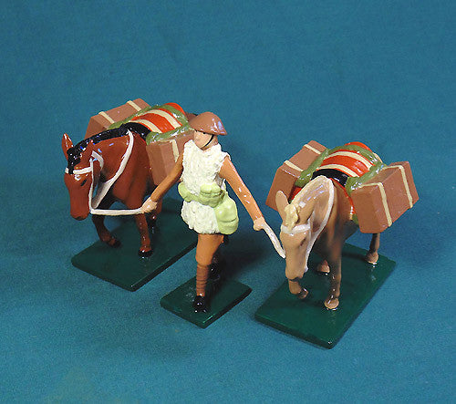 BG428B - WWI British Pack Mules with soldier in winter uniform from Beau Geste - Piers Christian Toy Soldiers