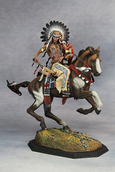 YZ75010 - Mounted Dakotas Warrior with war bonnet 1850. Made by YZCaesar - Piers Christian Toy Soldiers