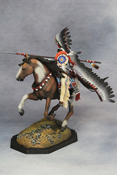 YZ75010 - Mounted Dakotas Warrior with war bonnet 1850. Made by YZCaesar - Piers Christian Toy Soldiers - 2